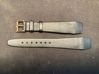 NOS Vintage Genuine Lizard Leather Hirsch Watch Band 17mm / 505 Dark Grey Gold