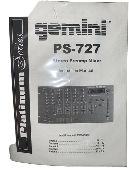 Gemini Ps-727 Professional Mixer Owners Manual