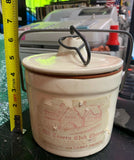 "Antique ""Old Tavern Club Cheese"" Crock With Lid Metal Clasp & Label"