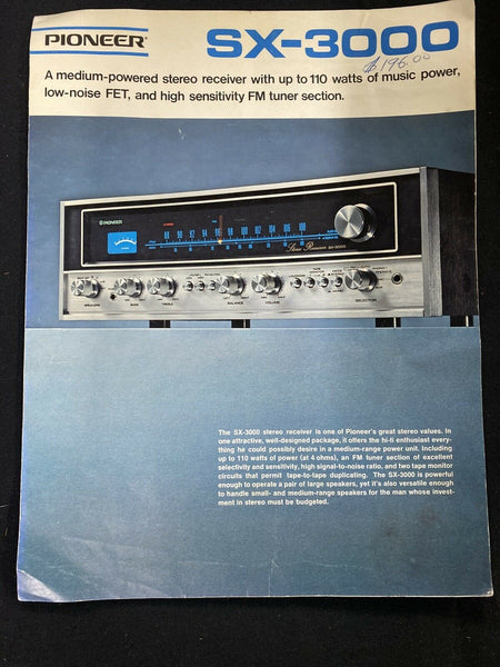 Pioneer SX-3000 Receiver Operating Instruction Manual