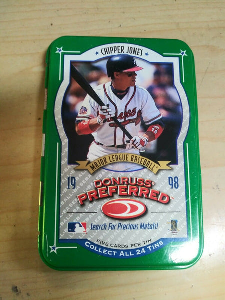 1998 Chipper Jones MLB Donruss Preferred Tin Box- The Five Cards Is NOT Included