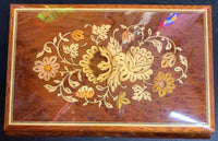 "REUGE Music Box Floral Inlaid Wood Swiss Movement ""As Time Goes By"""