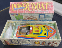 REPRODUCTION CANDLE POWERED POWER BOAT WITH EXTRA CANDLES & BOX