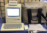VTG Apple Macintosh M0001E 512K Traveling Bundle With Microsoft Word, Bag, Cover