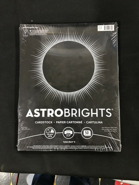 *1* Astro Brights (8.5 X 11 in) Cardstock Eclipse Blk 50 New
