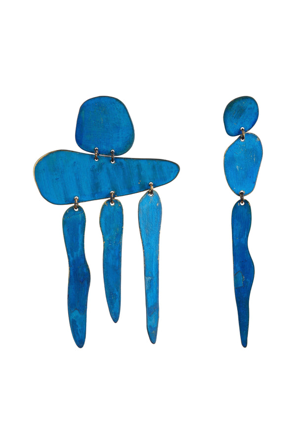 The Gia Fall Earrings in Blue