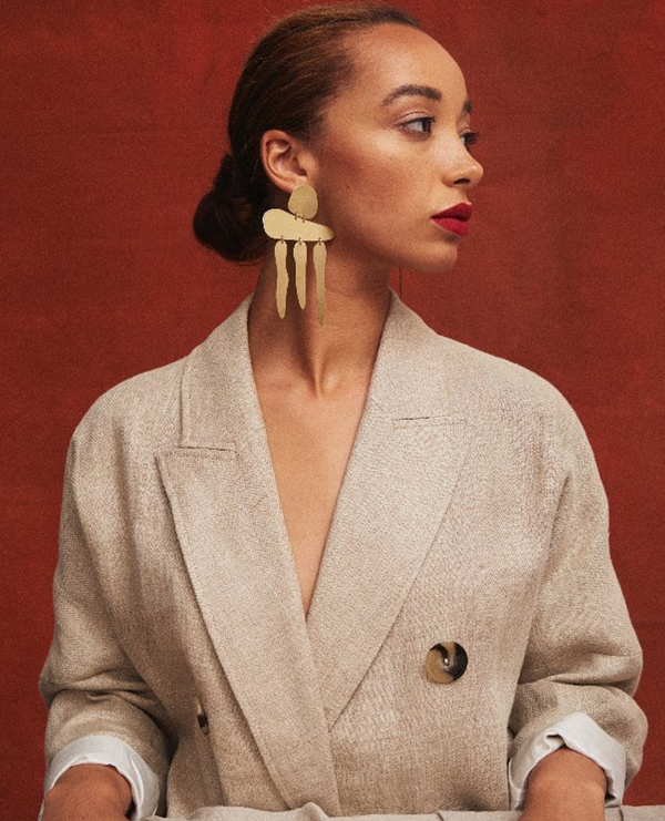 The Gia Fall Earrings in Brushed Brass