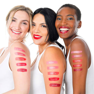 lique cream lipstick swatches on three women