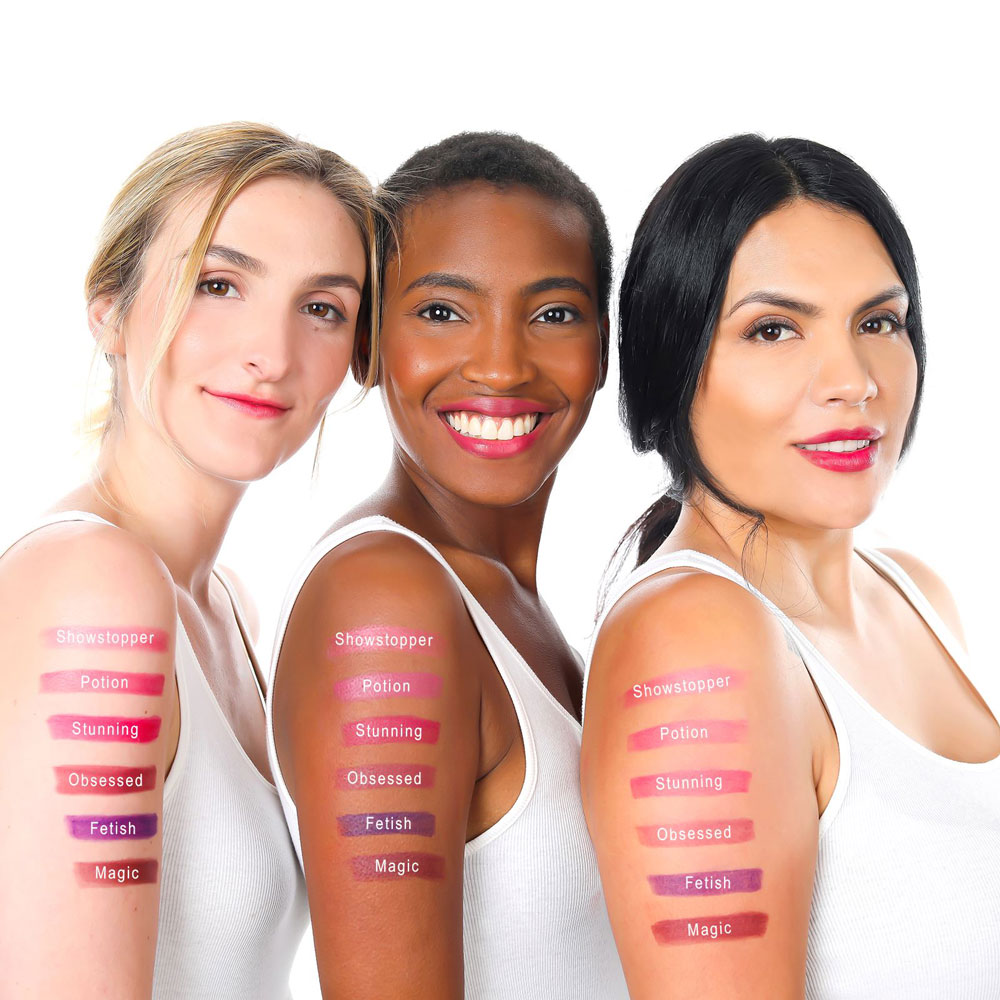 Lique Potion Cream Lipstick Arm Swatches on Three Women
