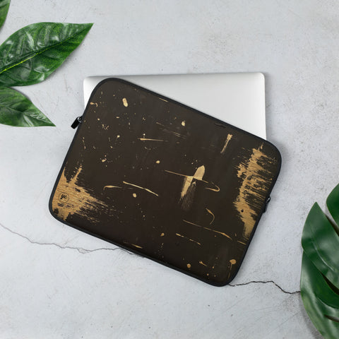 Laptop Sleeve Black Golden Space Abstract