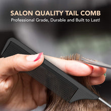 Load image into Gallery viewer, Professional 8.8 Inch Tail Comb - Black Carbon Fiber And Stainless Steel
