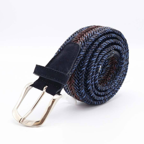 Blue Multi Coloured Braided Belt-Riem-Witteveen Menstore