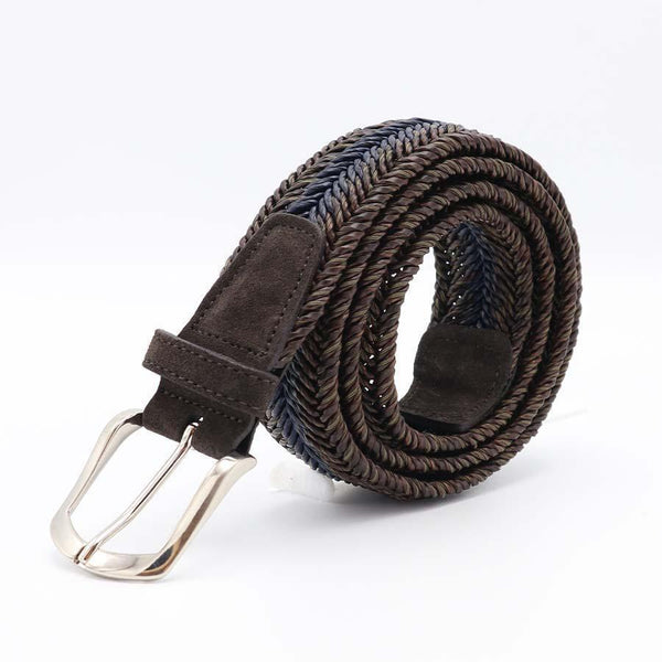 Brown Multi Coloured Braided Belt-Riem-Witteveen Menstore