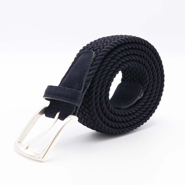 Dark Blue Braided Belt-Riem-Witteveen Menstore