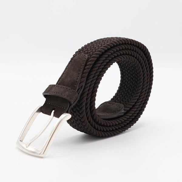 Dark Brown Braided Belt-Riem-Witteveen Menstore