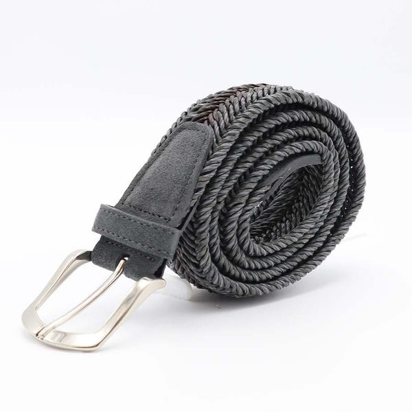 Gray Multi Coloured Braided Belt-Riem-Witteveen Menstore