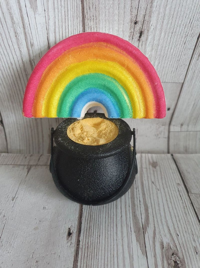 pot of gold dust and rainbow bath bomb duo