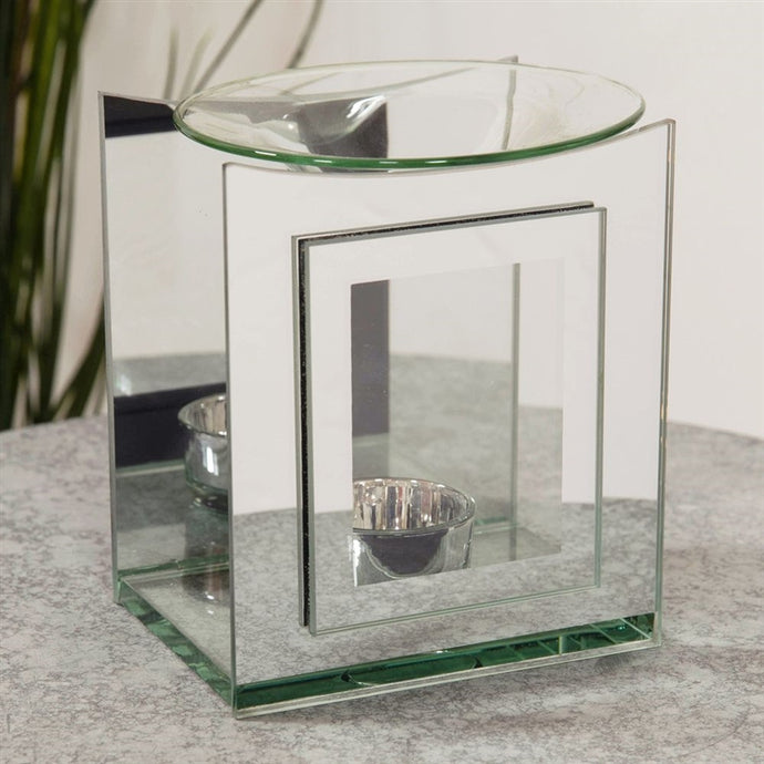 Large mirrored glass, square burner
