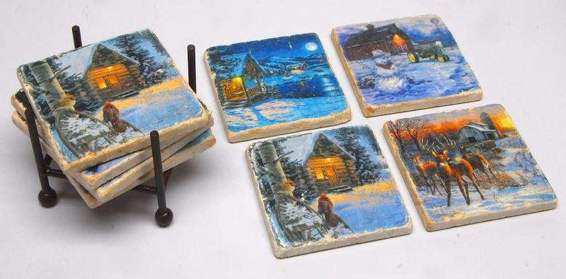 Country Christmas | Tumbled Italian Marble Coasters