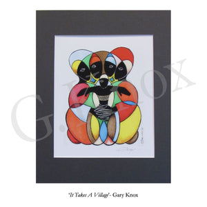 "Giclee Print ""It Takes A Village"" by Gary Knox, Matted"