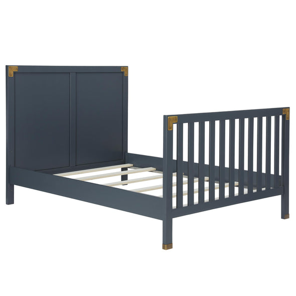 Wyatt Wooden Bed Rails - Graphite Blue - N/A