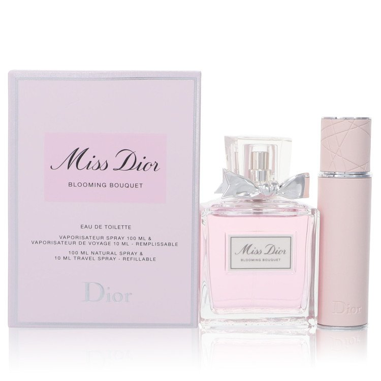 Miss Dior Blooming Bouquet by Christian Dior Gift Set -- 3.4 oz Eau De Toilette Spray + 0.34 oz Refillable Travel Spray for Women