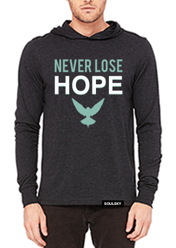 Triblend charcoal gray men's hoodie with white and turquoise text that says NEVER LOSE HOPE. There's a turquoise bird with it's wings open below the text.