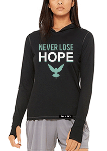 Super soft 'Never Lose Hope' women's charcoal black hoodie, with white and turquoise text.