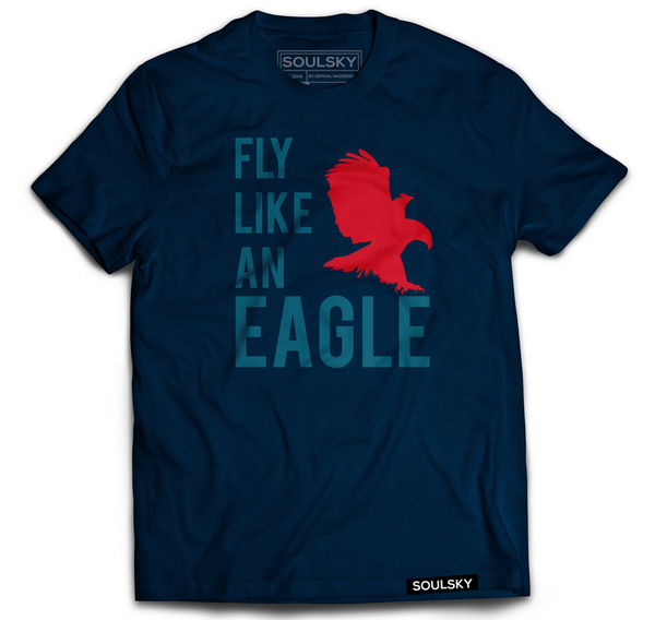 Navy blue tee with a red eagle and text that says 'Fly Like an Eagle' in lighter blue.