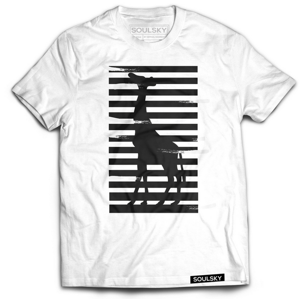 White tee with a black giraffe and black stripes going across.