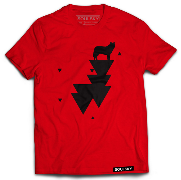 Red tee with black wolf and triangles.