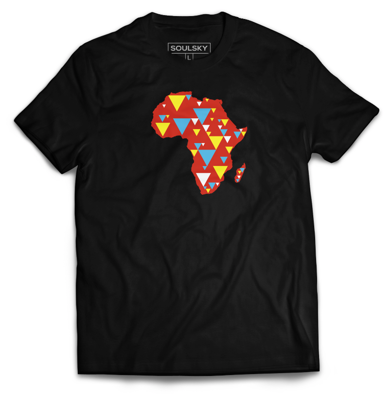 AFRICA IS ELECTRIC Tee - Red, Blue, Yellow - SOULSKY