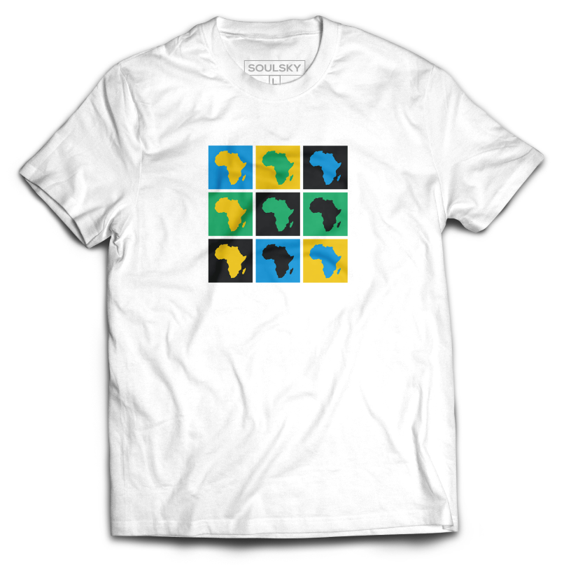 AFRICA POP ART Tee - Blue, Green, Yellow