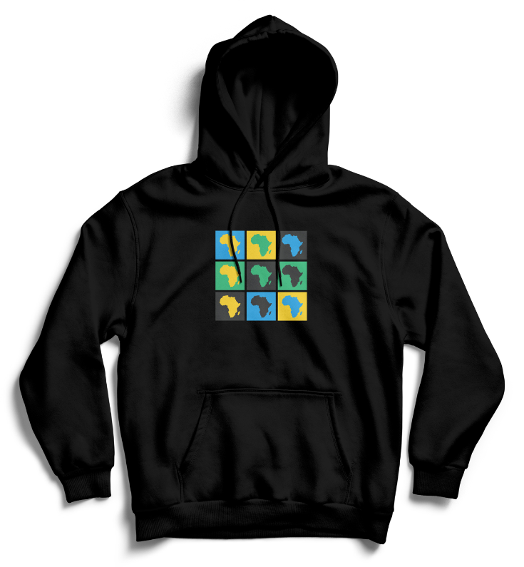 AFRICA POP ART Hoodie - Black, Blue, Green, Yellow