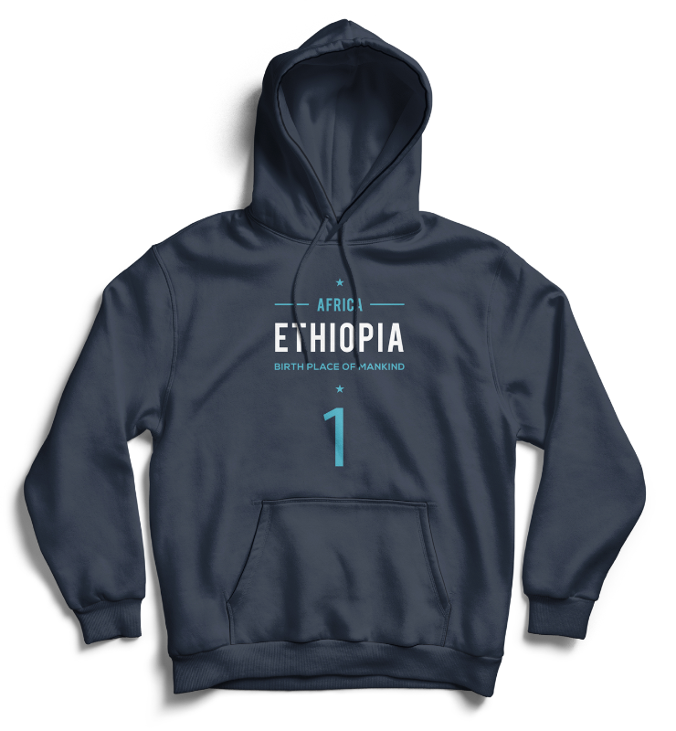 ETHIOPIA BIRTHPLACE OF MANKIND Hoodie - Navy Blue