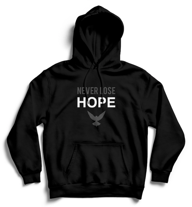 NEVER LOSE HOPE Hoodie - Black and Gray - SOULSKY