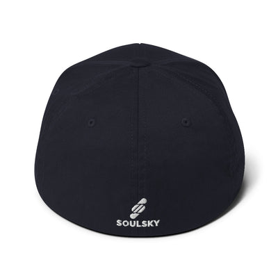 Navy blue baseball cap with white SOULSKY logo on the back of hat.