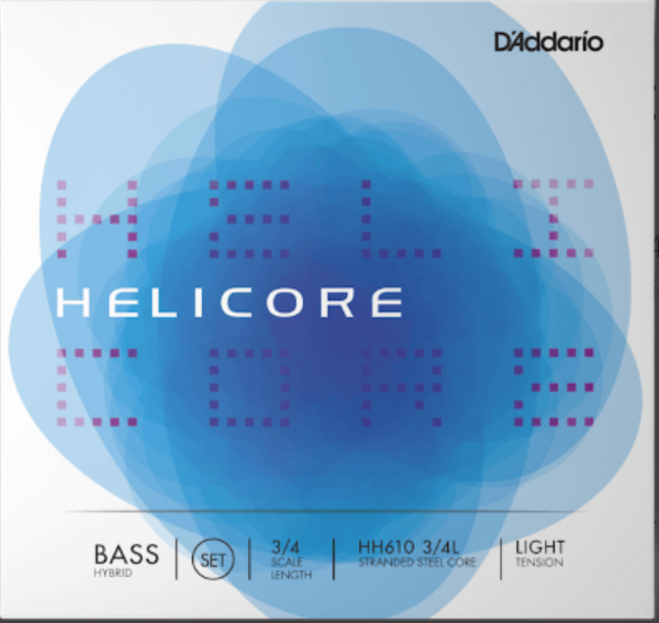 Helicore Hybrid Bass String Set, 3/4 Scale, Light Tension