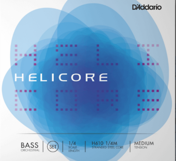 Helicore Orchestral Bass String Set, 1/4 Scale, Medium Tension