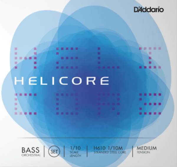 Helicore Orchestral Bass String Set, 1/10 Scale, Medium Tension