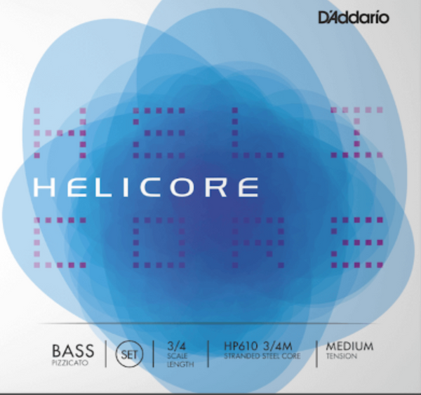 Helicore Pizzicato Bass String Set, 3/4 Scale, Medium Tension