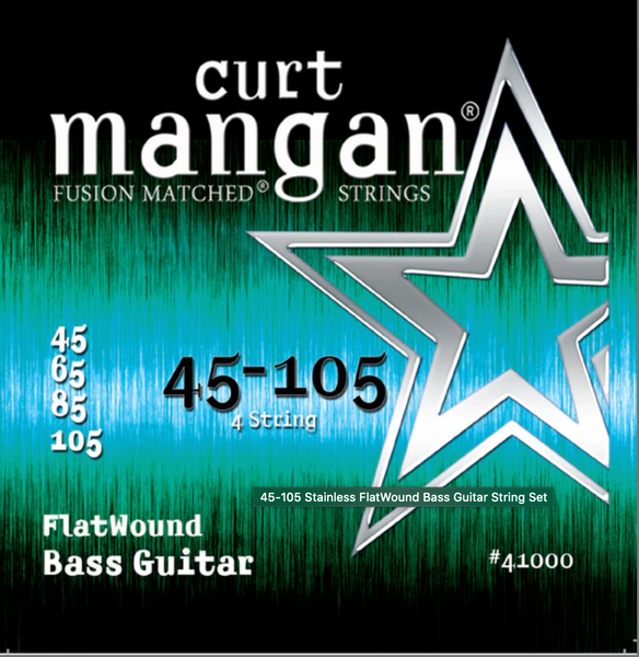 Curt Mangan 45-105 Stainless FlatWound Bass Guitar String Set