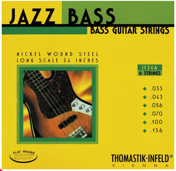 Thomastik-Infeld JF346 Jazz Nickel Flat Wound Round Core 6-String Electric Bass Strings Long Scale 33-136