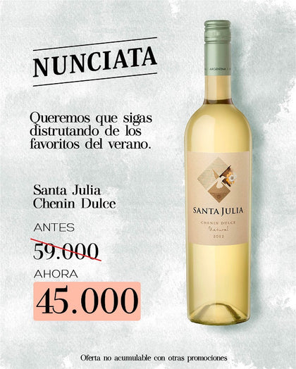 SANTA JULIA CHENIN DULCE NATURAL 750ML. 2020