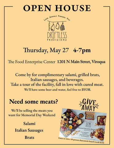 Driftless Provisions Open House Celebration May 27 4-7pm