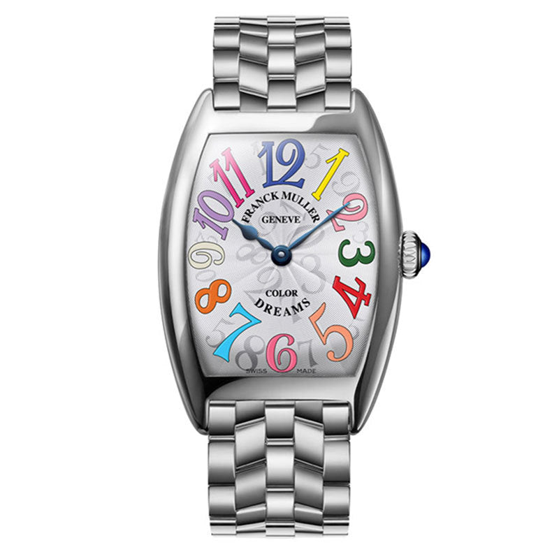 Stainless Steel Case, 25 x 35mm Case Size, White Dial with Color Dreams Numbers, Stainless Steel Bracelet Strap