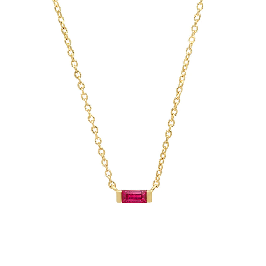 Minimal yet striking, our Solitaire Ruby Baguette Necklace will quickly become your new everyday necklace. With a .14 carat ruby set in gold, this dainty piece is the ideal pop of color. The Solitaire Ruby Baguette Necklace can be adjusted at 16, 17 and 18 making the layering possibilities endless.The Solitaire Ruby Baguette Necklace can be made to order in white and rose gold upon request.
