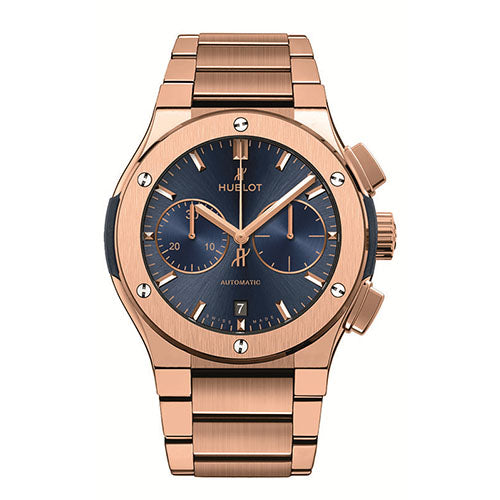 An intricate watch will always deliver sophistication and style- and this timepiece from Hublot brings you just that. This Gents watch can definitely be an awe-striking piece once you lay eyes upon it. With a Polished bezel, this treasure represents delicate craftsmanship. The Rose gold case that encloses this  pieces  mechanism is also evidence of the quality that comes from this stylish item. The contrasting Blue dial color adds a bold sense of luxury. Also important to note is the Scratch res