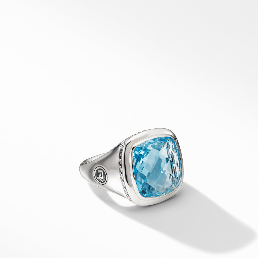 Sterling silver ��� Blue topaz, 14mm,  ��� Ring, 18mm