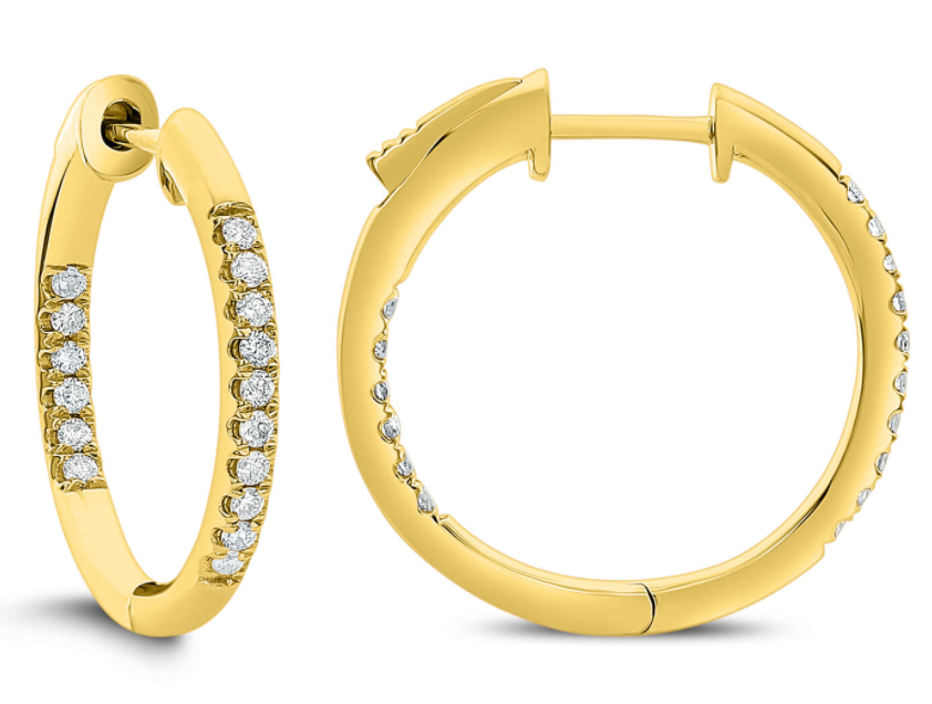 18K Gold 0.25ctw Diamond In-Out Hoop Earrings- AER-14729